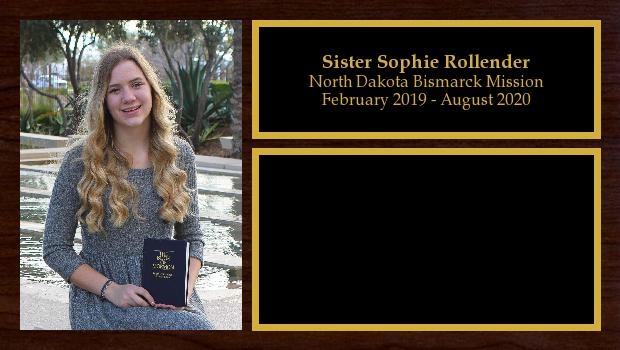 February 2019 to August 2020<br/>Sister Sophie Rollender