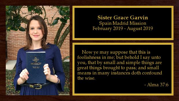 February 2019 to August 2019<br/>Sister Grace Garvin