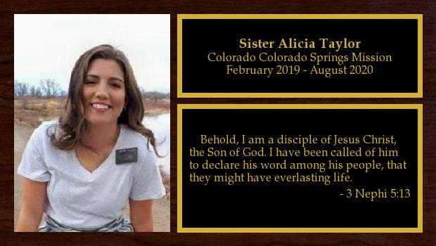 February 2019 to September 2020<br/>Sister Alicia Taylor