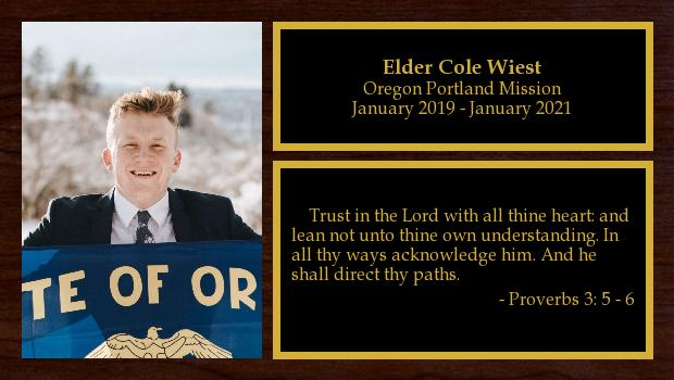 January 2019 to January 2021<br/>Elder Cole Wiest