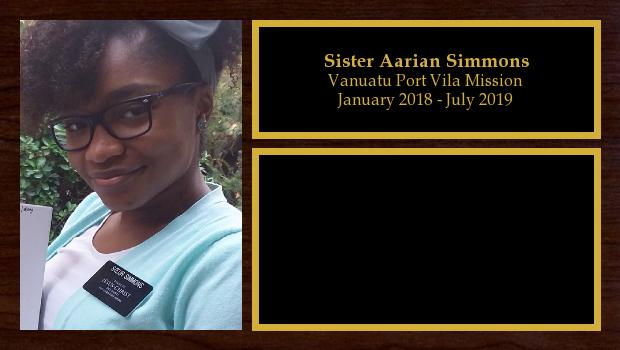 January 2018 to July 2019<br/>Sister Aarian Simmons