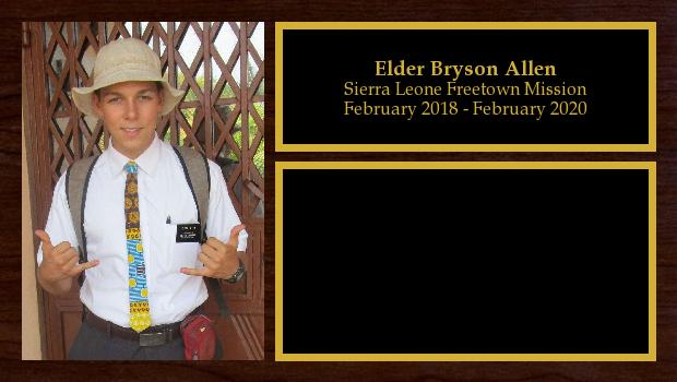 February 2018 to January 2020<br/>Elder Bryson Allen