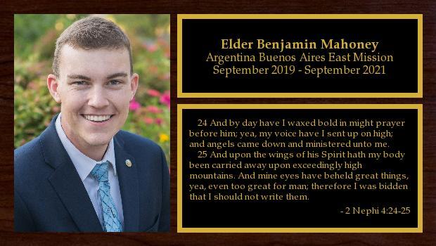September 2019 to September 2021<br/>Elder Benjamin Mahoney