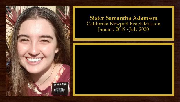 January 2019 to July 2020<br/>Sister Samantha Adamson