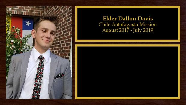 August 2017 to July 2019<br/>Elder Dallon Davis