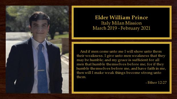 March 2019 to February 2021<br/>Elder William Prince