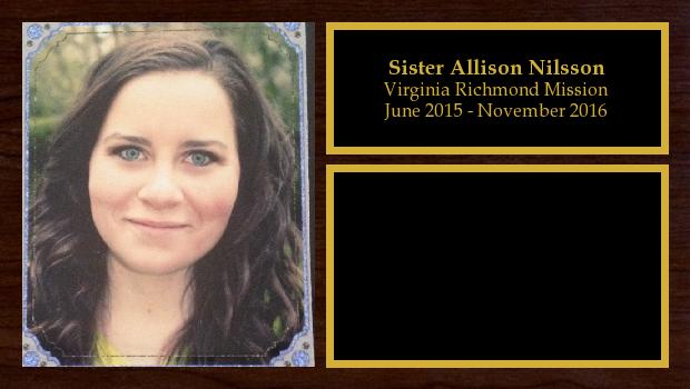 June 2015 to November 2016<br/>Sister Allison Nilsson