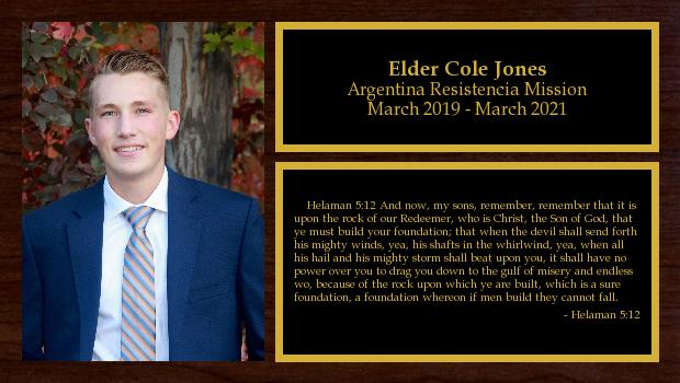 March 2019 to March 2020<br/>Elder Cole Jones