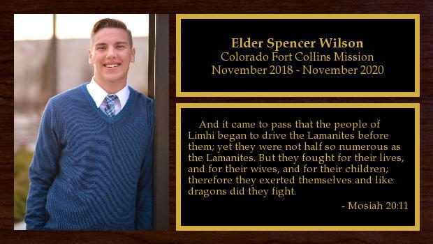 November 2018 to November 2020<br/>Elder Spencer Wilson