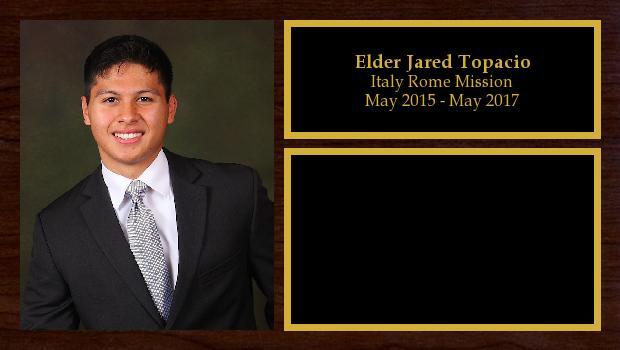 May 2015 to May 2017<br/>Elder Jared Topacio