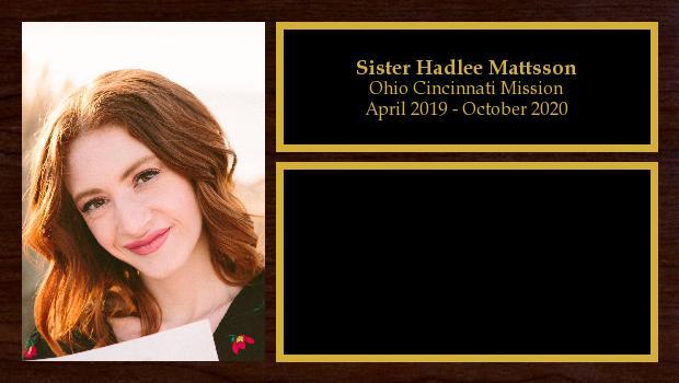 April 2019 to October 2020<br/>Sister Hadlee Mattsson