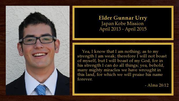 April 2013 to April 2015<br/>Elder Gunnar Urry