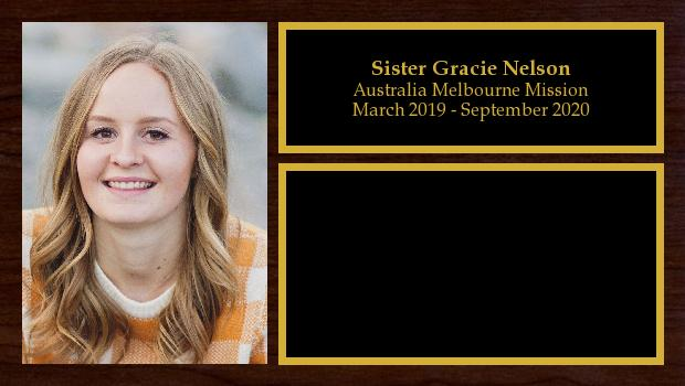 March 2019 to September 2020<br/>Sister Gracie Nelson