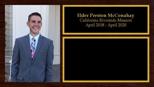 April 2018 to April 2020<br/>Elder Preston McConahay