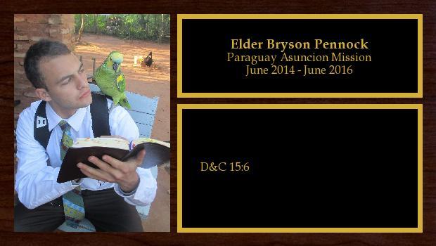 June 2014 to June 2016<br/>Elder Bryson Pennock