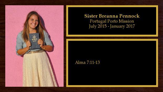 July 2015 to January 2017<br/>Sister Breanna Pennock