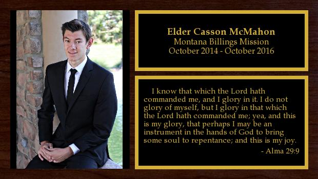 October 2014 to October 2016<br/>Elder Casson McMahon