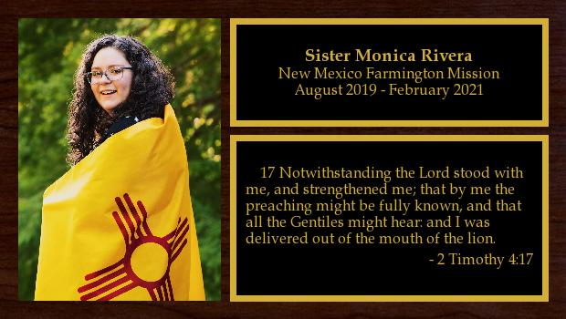 August 2019 to February 2021<br/>Sister Monica Rivera
