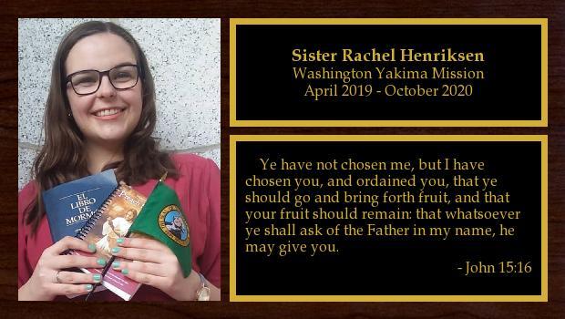 April 2019 to October 2020<br/>Sister Rachel Henriksen