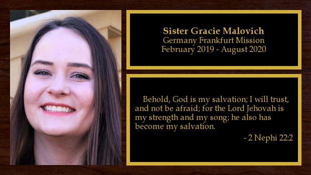 February 2019 to August 2020<br/>Sister Gracie Malovich