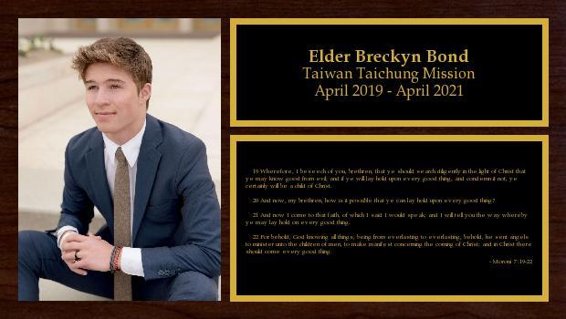 April 2019 to April 2021<br/>Elder Breckyn Bond