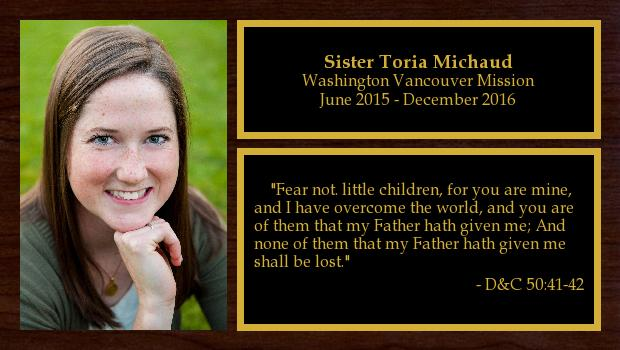June 2015 to December 2016<br/>Sister Toria Michaud