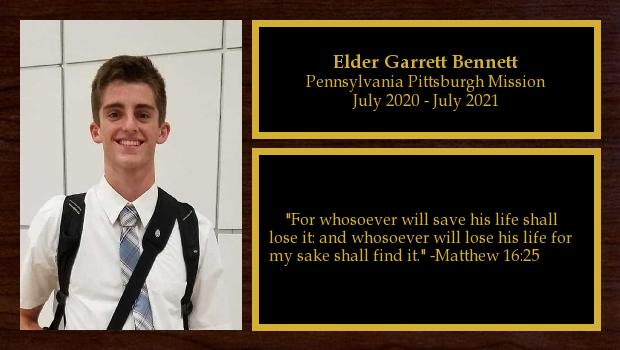 July 2020 to July 2021<br/>Elder Garrett Bennett