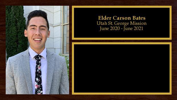 July 2019 to June 2021<br/>Elder Carson Bates