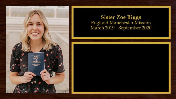 March 2019 to September 2020<br/>Sister Zoe Biggs