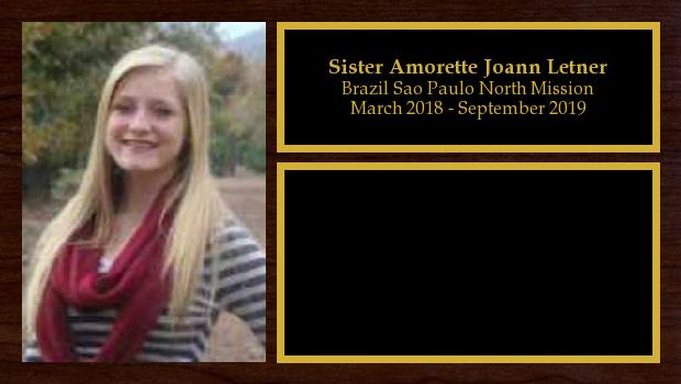 March 2018 to September 2019<br/>Sister Amorette Joann Letner