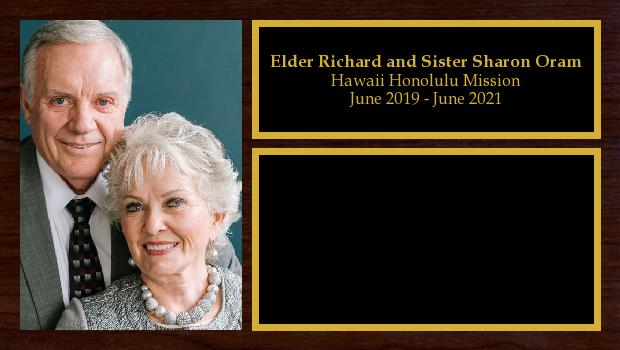 June 2019 to June 2021<br/>Elder Richard and Sister Sharon Oram