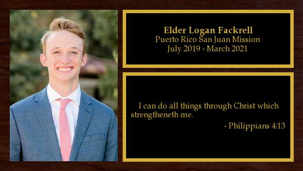 July 2019 to July 2021<br/>Elder Logan Fackrell
