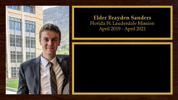 April 2019 to April 2021<br/>Elder Brayden Sanders
