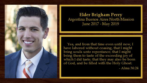 June 2017 to May 2019<br/>Elder Brigham Perry