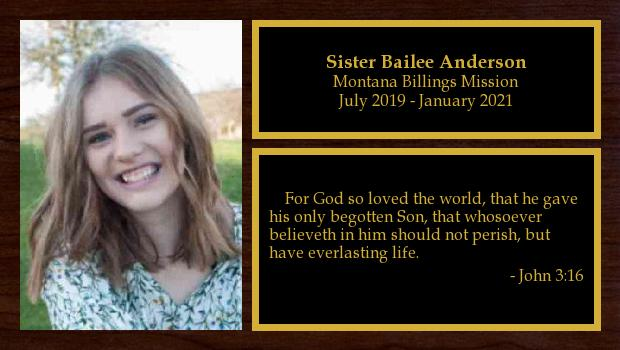 July 2019 to January 2021<br/>Sister Bailee Anderson