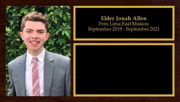 September 2019 to September 2021<br/>Elder Jonah Allen