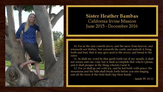 June 2015 to December 2016<br/>Sister Heather Bambas