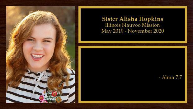 May 2019 to November 2020<br/>Sister Alisha Hopkins