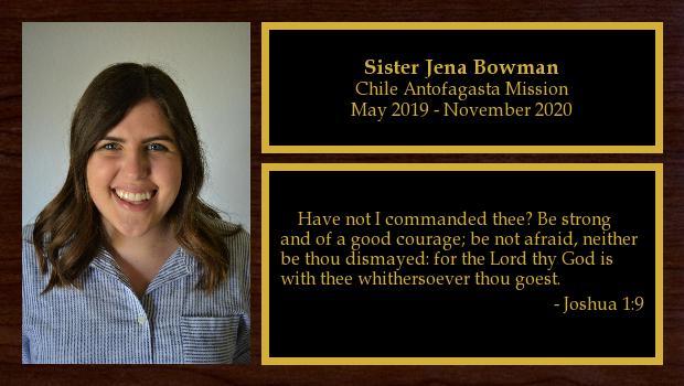 May 2019 to November 2020<br/>Sister Jena Bowman