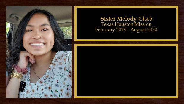 February 2019 to August 2020<br/>Sister Melody Chab