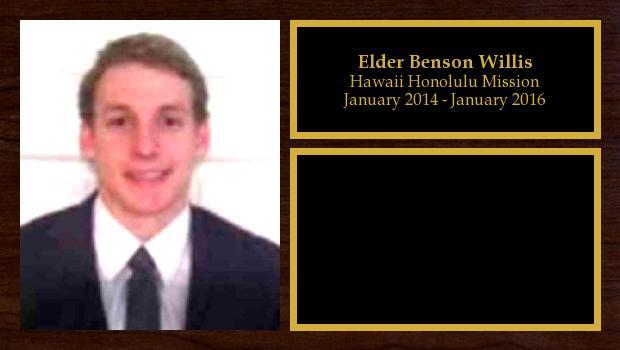 January 2014 to January 2016<br/>Elder Benson Willis