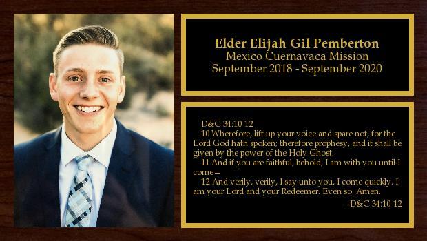 September 2018 to September 2020<br/>Elder Elijah Gil Pemberton