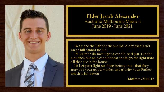 June 2019 to June 2021<br/>Elder Jacob Alexander