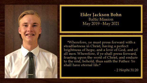 May 2019 to May 2021<br/>Elder Jackson Bohn