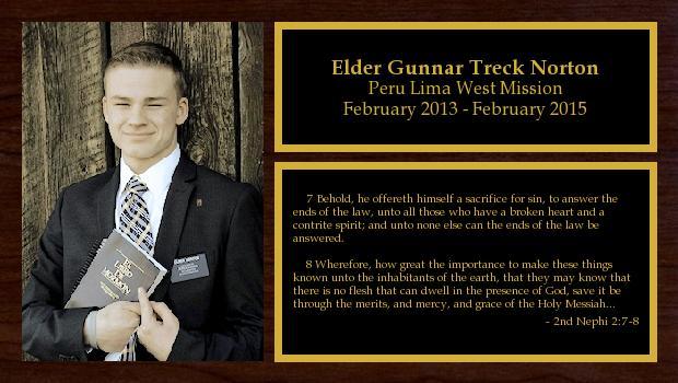 February 2013 to February 2015<br/>Elder Gunnar Treck Norton