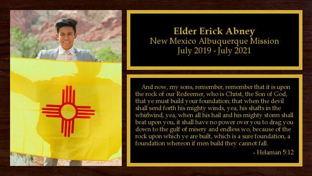 July 2019 to July 2021<br/>Elder Erick Abney