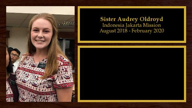 August 2018 to February 2020<br/>Sister Audrey Oldroyd