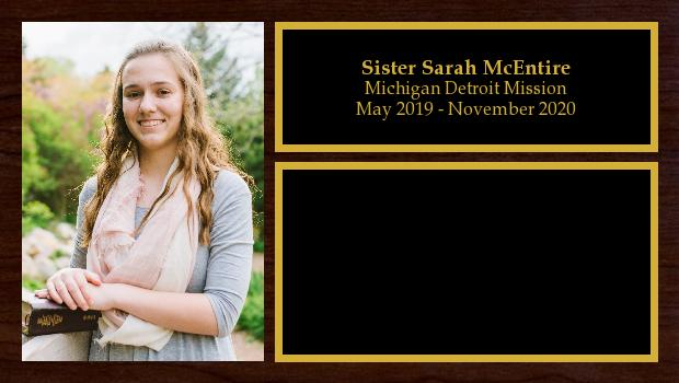 May 2019 to November 2020<br/>Sister Sarah McEntire