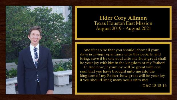 August 2019 to August 2021<br/>Elder Cory Allmon