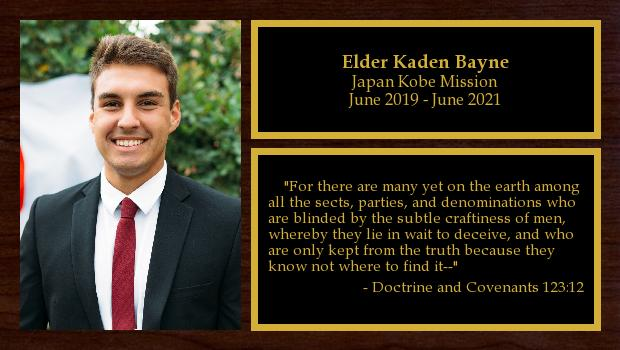 June 2019 to June 2021<br/>Elder Kaden Bayne